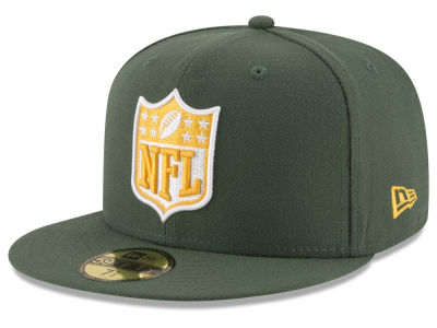 Green Bay Packers NFL Team Shield 59FIFTY Cap Hats