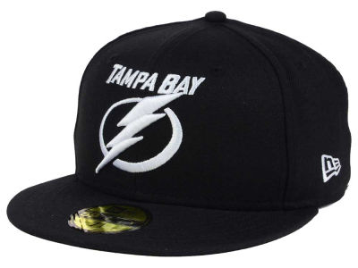 Tampa Bay Lightning NHL Black Dub 59FIFTY Cap Hats