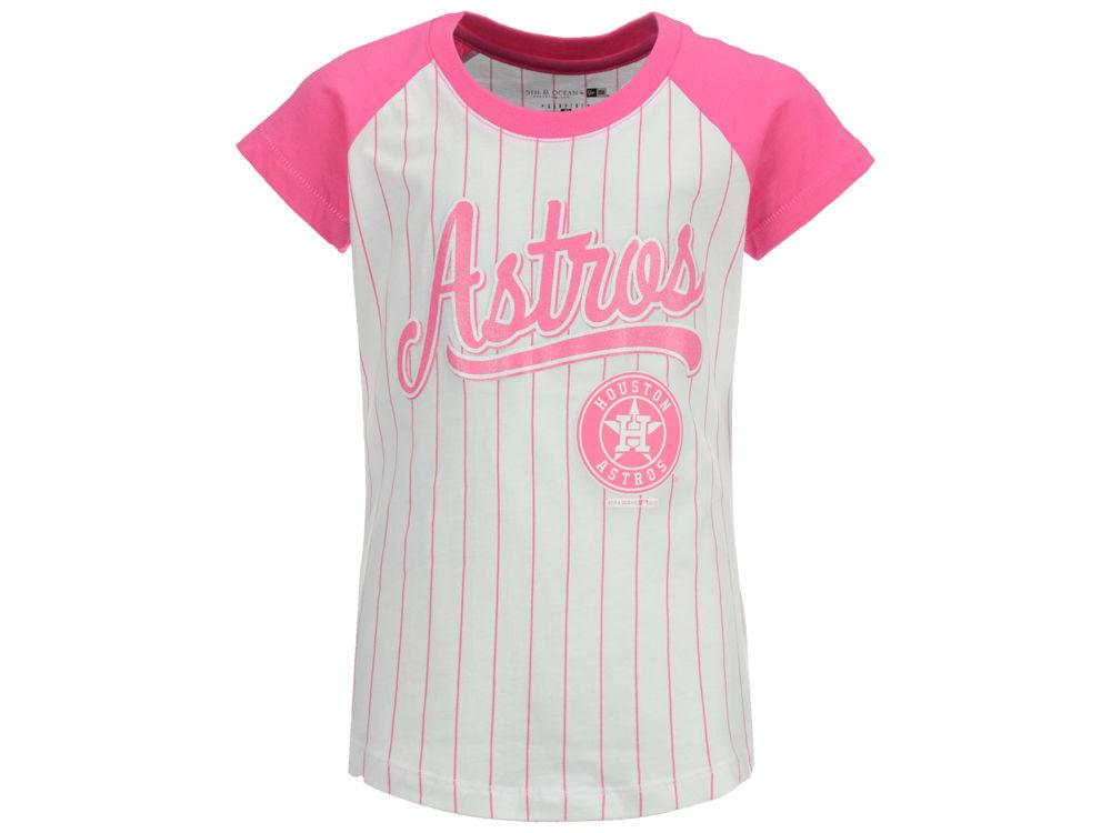 best website f3c6c 8456f 80%OFF Houston Astros MLB Girls Pinstripe T-Shirt