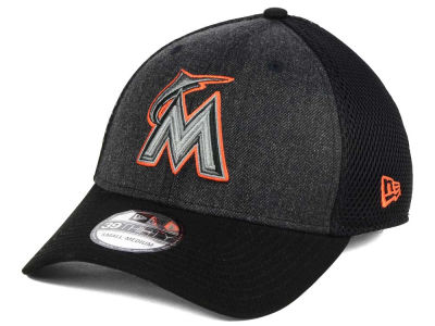 Miami Marlins MLB Black Heathered Neo 39THIRTY Cap Hats