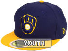 Milwaukee Brewers New Era 2017 MLB Kids Batting Practice Diamond Era 59FIFTY Cap Fitted Hats