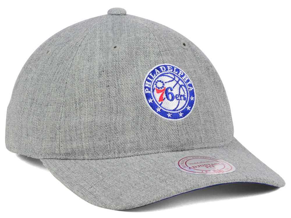 wholesale dealer 30bfe d780f Philadelphia 76ers Mitchell and Ness NBA Heather Grey Dad Hat good