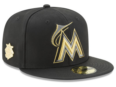 Miami Marlins MLB The League Metallic Patch 59FIFTY Cap Hats