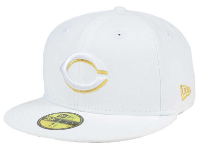 Cincinnati Reds MLB White On Metallic 59FIFTY Cap Hats