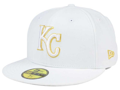 Kansas City Royals MLB White On Metallic 59FIFTY Cap Hats