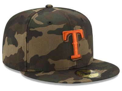 Texas Rangers MLB Camo On Canvas 59FIFTY Cap Hats