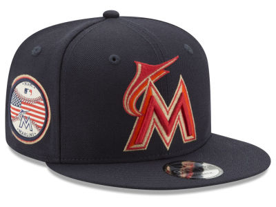 Miami Marlins MLB Full Americana Patch 9FIFTY Snapback Cap Hats
