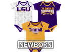 LSU Tigers Outerstuff NCAA Newborn Playermaker 3 Piece Creeper Set Infant Apparel
