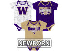 Washington Huskies Outerstuff NCAA Newborn Playermaker 3 Piece Creeper Set Infant Apparel