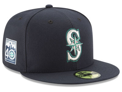 Seattle Mariners MLB 2017 40th Anniversary Patch 59FIFTY Cap Hats