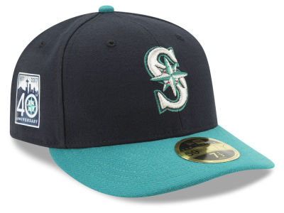 Seattle Mariners MLB 2017 40th Anniversary Patch 59FIFTY Low Profile Cap Hats