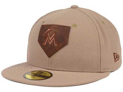 Miami Marlins MLB The Logo of Leather 59FIFTY Cap Hats