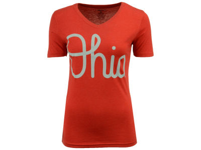 J America NCAA Women's Tri-blend Script Ohio V-Neck T-shirt