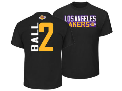 Los Angeles Lakers Lonzo Ball Majestic NBA Men s Vertical Name and Number T- Shirt  a08ca85cf