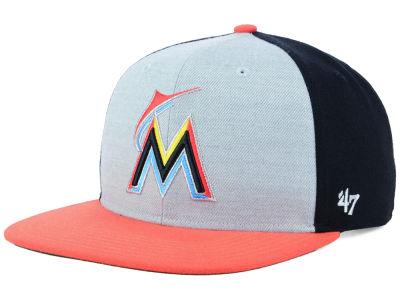 Miami Marlins  47 MLB Heather Front Snapback Cap  67a2a9fbc3e