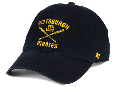 47 Pittsburgh Pirates Black Yellow Outline Adjustable Clean Up Cap