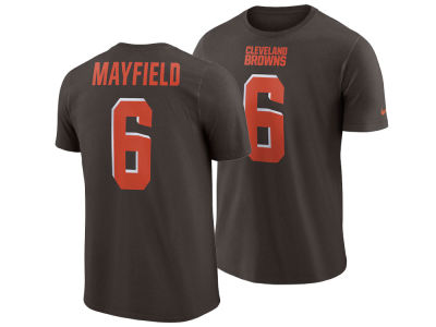 Cleveland Browns Baker Mayfield Nike NFL Men's Pride Name and Number Wordmark T-shirt