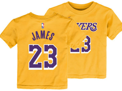 645cc46e621 Los Angeles Lakers LeBron James Nike NBA Toddler Replica Name and Number T- Shirt