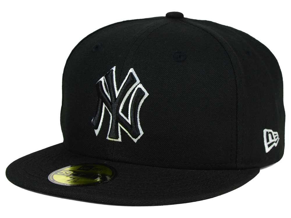 New york yankees new era mlb black and white fashion 59fifty cap