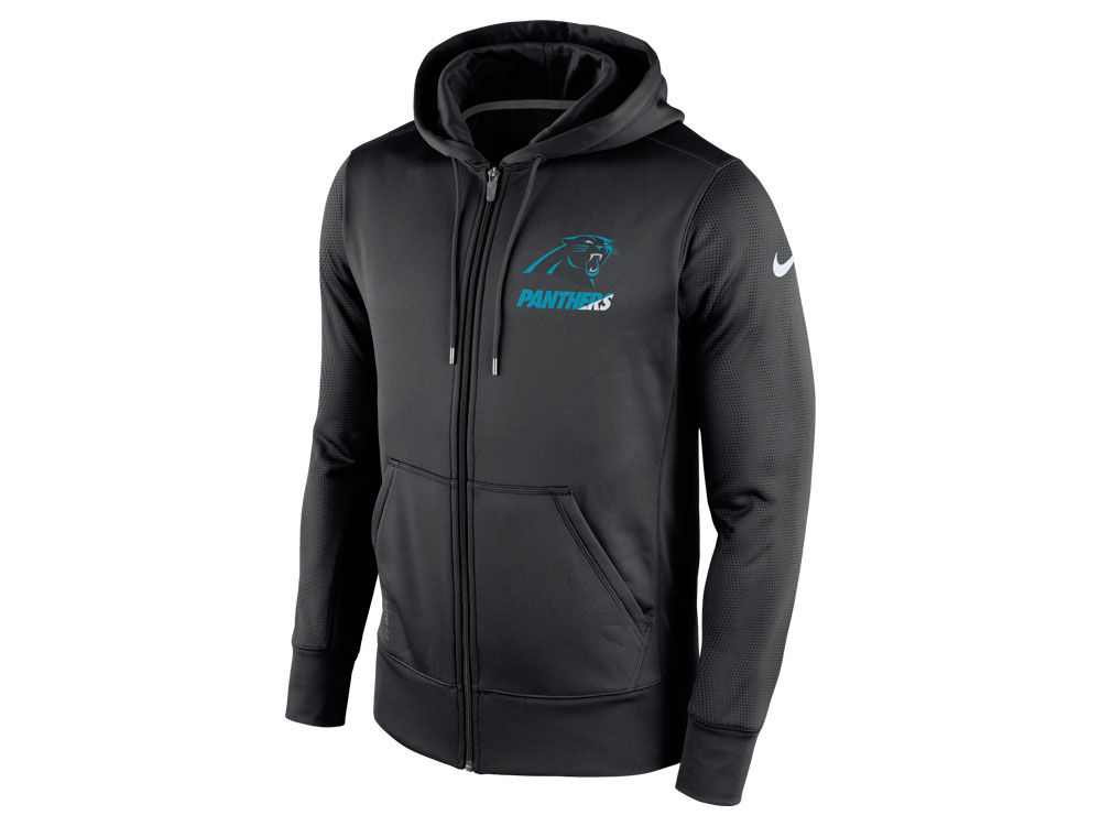 Mens Carolina Panthers Black Front and Sleeve Full Zip Jacket