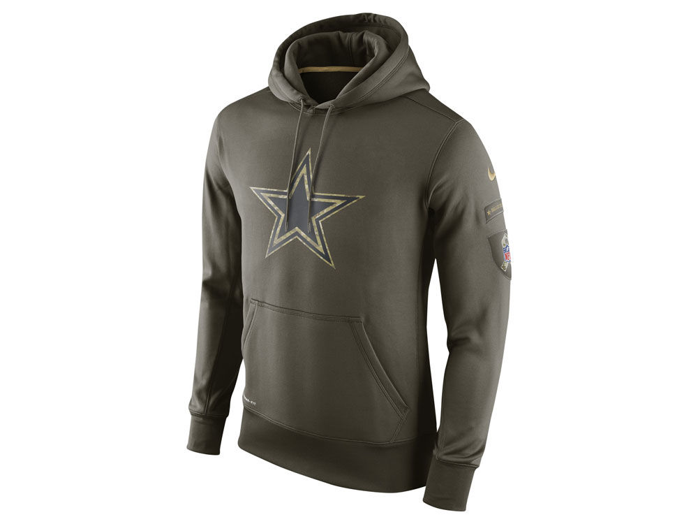 NFL Men's Nike Dallas Cowboys #82 Jason Witten Stitched Green Olive Salute To Service KO Performance Hoodie