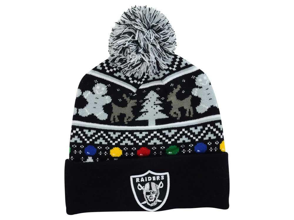 Men's Oakland Raiders New Era Black Logo Whiz Cuffed Knit Hat with Pom