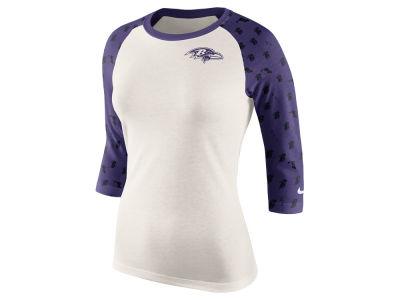 Women's Baltimore Ravens 5th & Ocean by New Era Black Tri-Blend V-Neck Long Sleeve T-Shirt