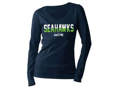 Women's Seattle Seahawks 5th & Ocean by New Era Navy Mineral Wash Hi-Lo T-Shirt