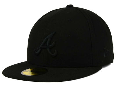 Atlanta Braves New Era MLB Black on Black Fashion 59FIFTY Cap