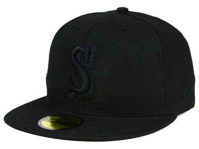 Seattle Mariners New Era MLB Black on Black Fashion 59FIFTY Cap