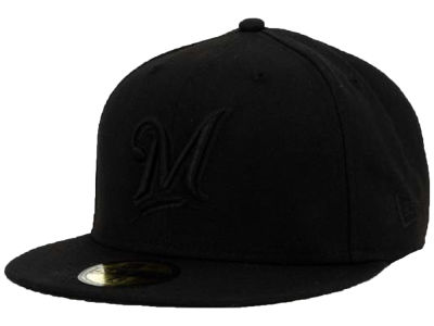 Milwaukee Brewers New Era MLB Black on Black Fashion 59FIFTY Cap