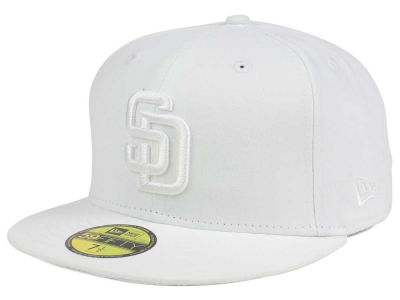 San Diego Padres New Era MLB White on White Fashion 59FIFTY Cap