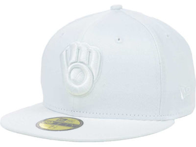 Milwaukee Brewers New Era MLB White on White Fashion 59FIFTY Cap