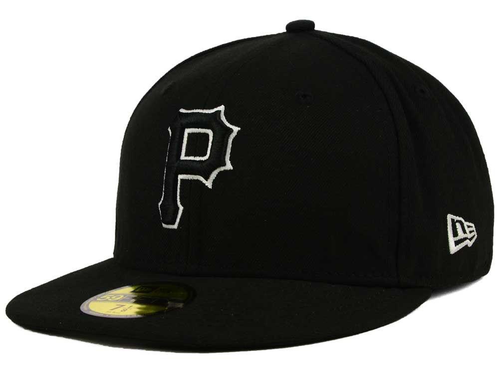 b1ec1bfd510 Pittsburgh Pirates New Era MLB Black and White Fashion 59FIFTY Cap ...