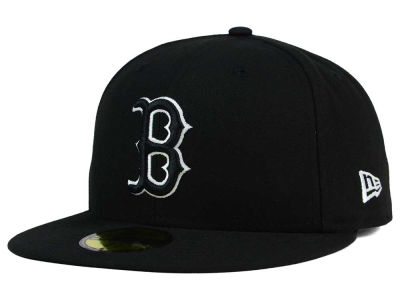 Boston Red Sox New Era MLB Black and White Fashion 59FIFTY Cap