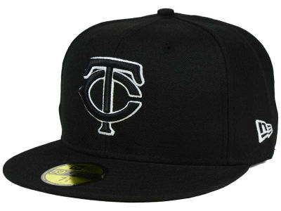 Minnesota Twins New Era MLB Black and White Fashion 59FIFTY Cap