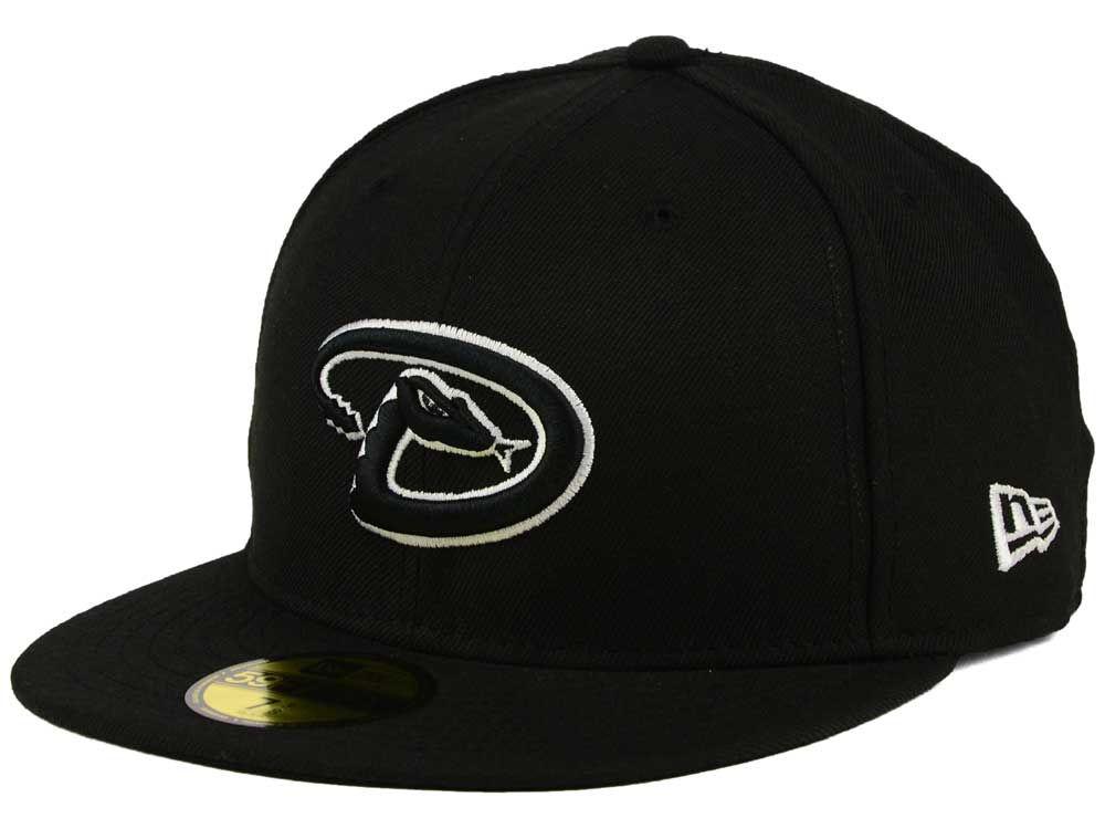 8d917165e0e39 Arizona Diamondbacks New Era MLB Black and White Fashion 59FIFTY Cap ...