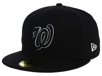 Washington Nationals New Era MLB Black and White Fashion 59FIFTY Cap