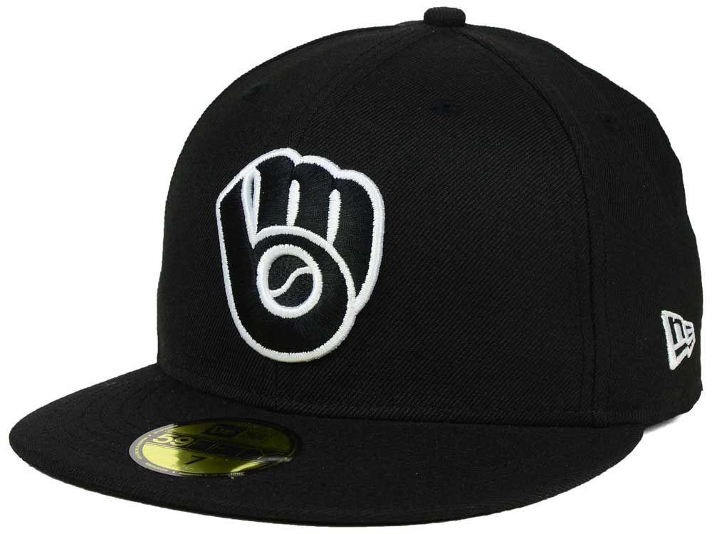 a1c1f9d6f2e Milwaukee Brewers New Era MLB Black and White Fashion 59FIFTY Cap ...