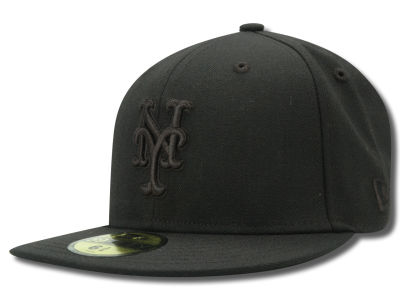 New York Mets New Era MLB Black on Black Fashion 59FIFTY Cap