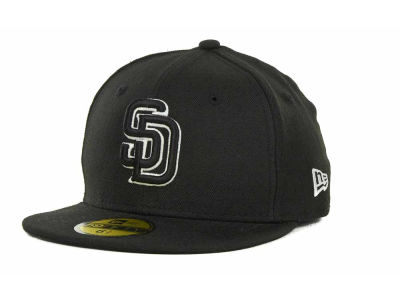 San Diego Padres New Era MLB Black and White Fashion 59FIFTY Cap