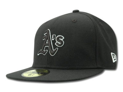Oakland Athletics New Era MLB Black and White Fashion 59FIFTY Cap