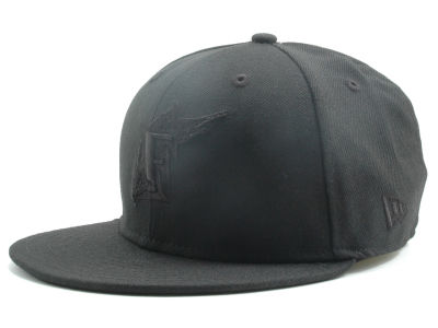 Florida Marlins New Era MLB Black on Black Fashion 59FIFTY Cap
