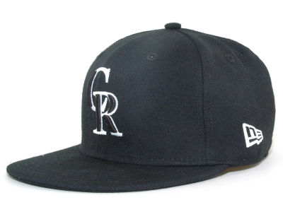 Colorado Rockies New Era MLB Black and White Fashion 59FIFTY Cap
