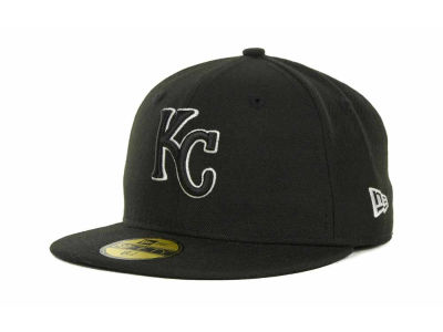 Kansas City Royals New Era MLB Black and White Fashion 59FIFTY Cap