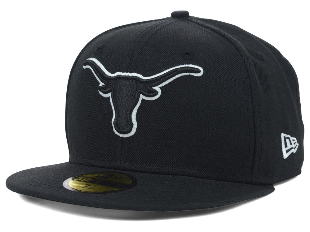 new products 51020 74ba2 reduced texas longhorns new era ncaa black on black with white 59fifty cap  1e1c0 ca03f