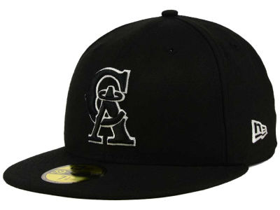 Los Angeles Angels New Era MLB Black and White Fashion 59FIFTY Cap