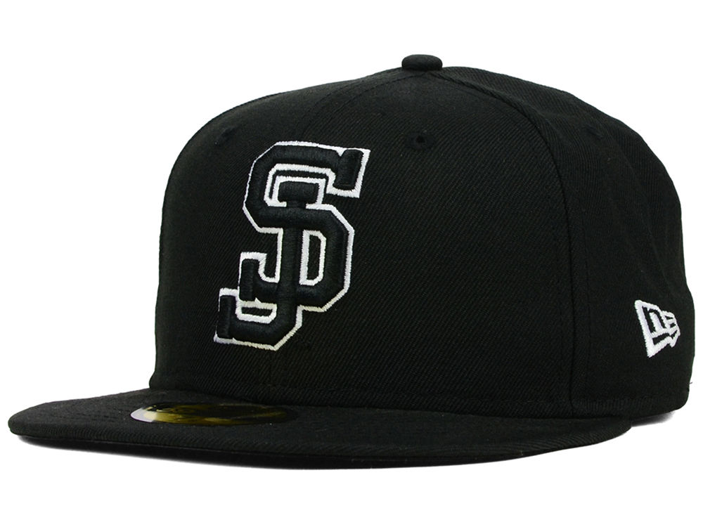San Jose State Spartans New Era NCAA Black on Black with White 59FIFTY Cap   290f23fc5303