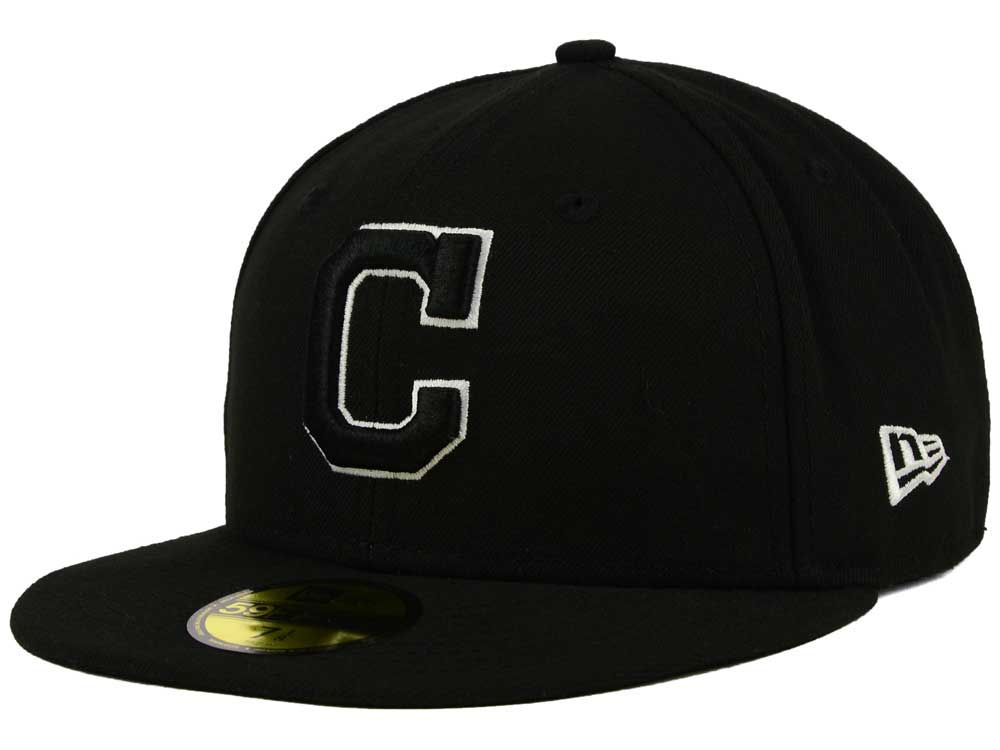 new product 96181 9cbcd low price cleveland indians new era mlb black and white fashion 59fifty cap  75199 cb490