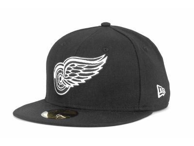 Detroit Red Wings New Era NHL Black and White 59FIFTY Cap